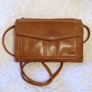 Fossil leather crossbody purse/wallet combination